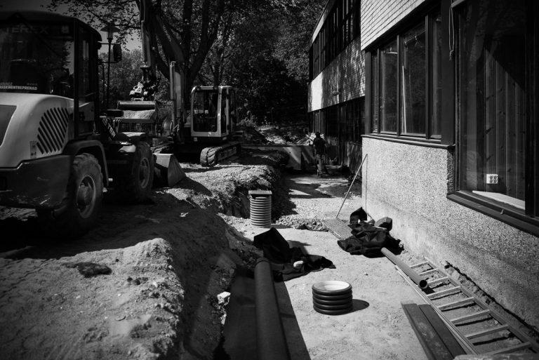 Markupprustning och grundmursisolering i Fagersjö